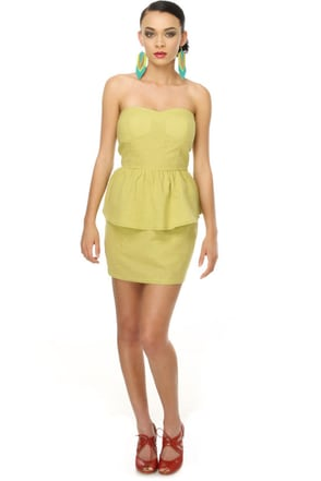 Let Loose Chartreuse Strapless Dress