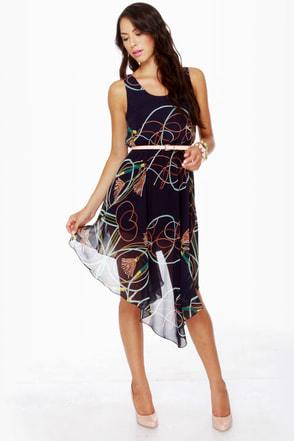 Show Me the Ropes Blue Print Dress