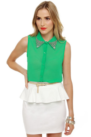 Frosted Tips Sheer Green Top