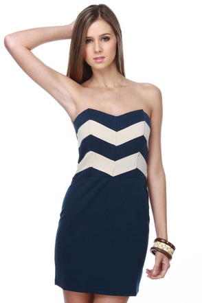 Lucca Couture Cadette Strapless Navy Blue Dress