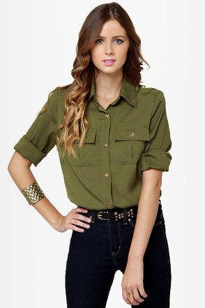 Sleek Button Up Top Olive Green Top Collared Top 38 00