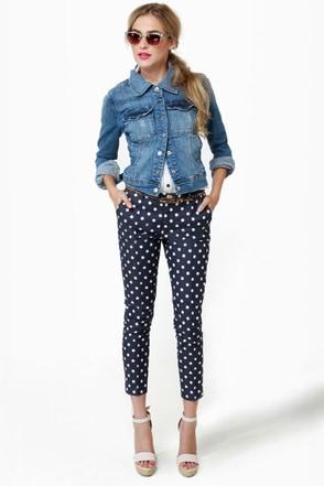 Bumper Cropped Blue Polka Dot Pants