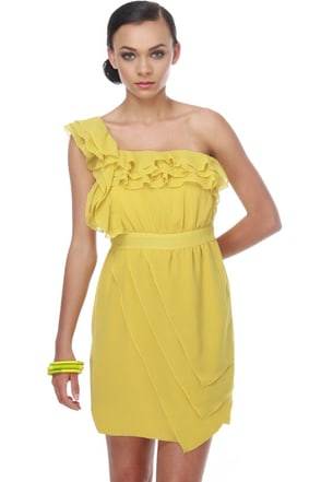 Lemon in the Coconut One Shoulder Yellow Dress