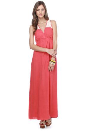 Pura Vida Coral Maxi Dress