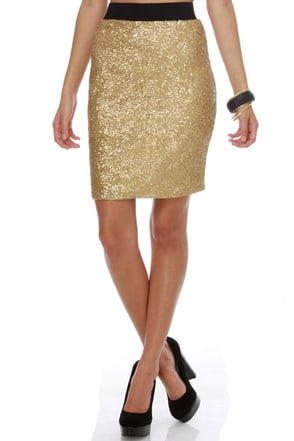 Hide and Go Sequin Gold Sequin Skirt