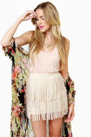 Start Your Fringe-ines! Cream Fringe Mini Skirt