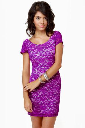 Closing Credits Purple Lace Dress