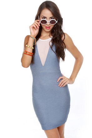 Motel Sunny Mesh Blue Dress