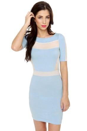 Motel Carina Beige and Light Blue Dress
