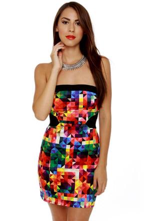 Motel Zahara Strapless Kaleidoscope Print Dress