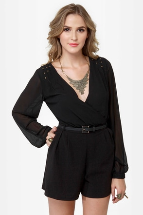 One For All Backless Black Romper
