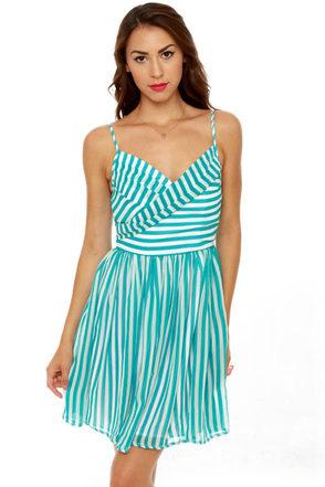 Divine Lines Aqua Blue Striped Dress