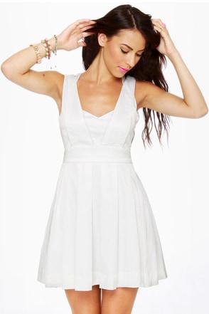 Cheer Factor Sleeveless White Dress