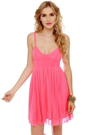 Glow Stick Shift Neon Pink Dress