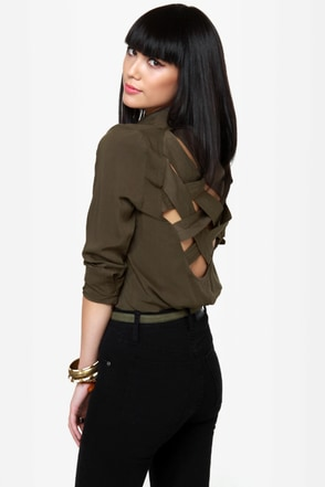 Cute As a Button-Up Backless Olive Green Top