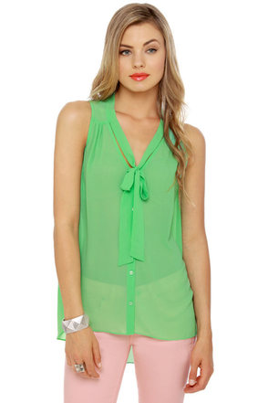 Sleeveless in Seattle Sheer Mint Green Top
