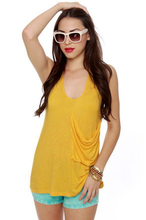 Pocket Aces Yellow Tank Top