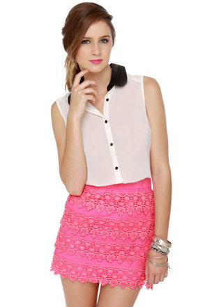 Parade-y Bunch Hot Pink Lace Mini Skirt