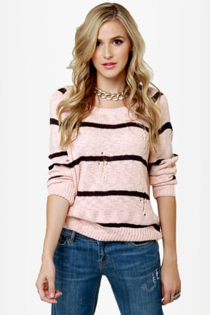 Cuddled Up Pink Striped Sweater