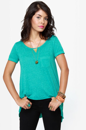 O\\\\\\\'Neill Goodwill High-Low Turquoise Top