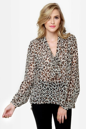 Obey Day Dreamer Sheer Animal Print Top
