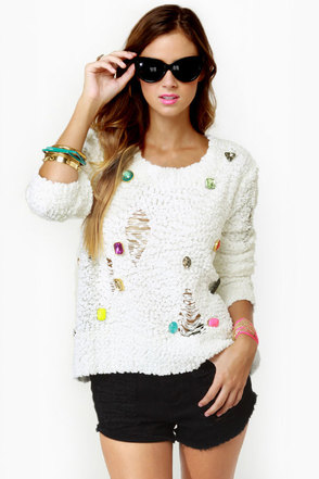 Playing it Jeweled Ivory Sweater