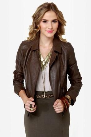 Hot Chocolate Brown Vegan Leather Jacket