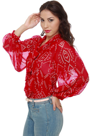 Arrow Escape Red Print Top