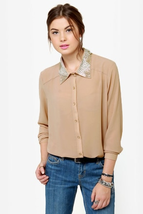 Luxe-y For You Beaded Button-Up Top