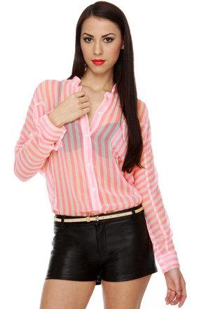 Malt Shop Memories Striped Pink Top