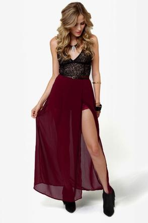 Shorty Got Low Burgundy Maxi Skirt