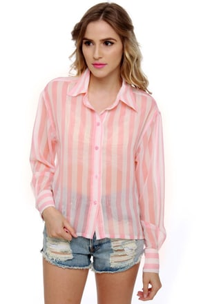 Sugar and Entice Striped Pink Top