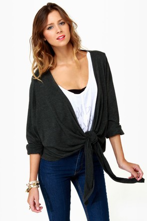 Volcom Autumn Spice Kimono Charcoal Grey Wrap Sweater