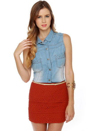 Volcom Frochikie Laced Rust Red Mini Skirt