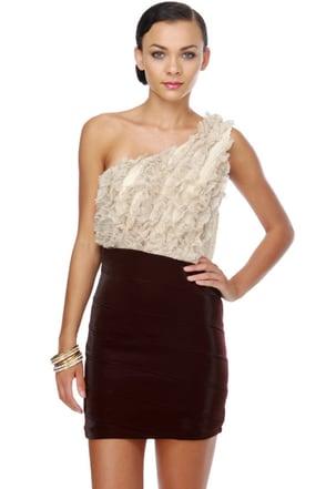 Darling Color Block Dress One Shoulder Dress Ruffle