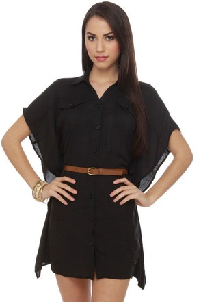 Loft Party Belted Black Dress