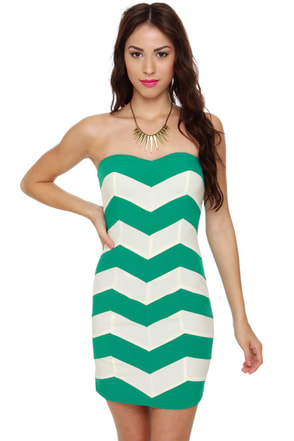 Chevron Cloud Nine Strapless Teal Dress
