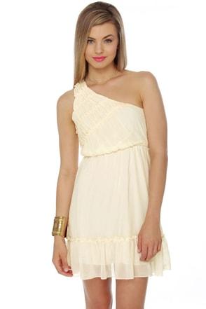 Dream Come True Cream One Shoulder Dress