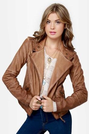 Black Sheep Heart Brown Vegan Leather Moto Jacket