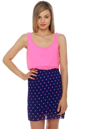 Hits the Spot Blue and Pink Polka Dot Dress