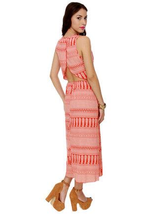 Firestarter Orange Print Maxi Dress