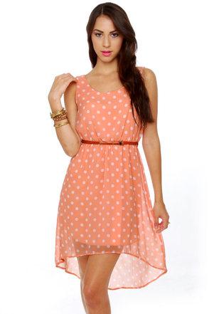 Southern Hospitality Peach Polka Dot Dress