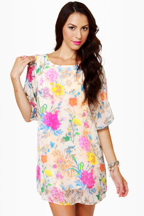 Iris You Were Here Floral Print Shift Dress