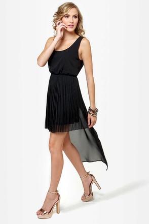 Gliding Light Black High-Low Dress