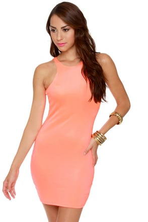 Effects on the Beach Neon Coral Dress