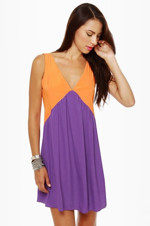 Stand By V Purple and Orange Dress