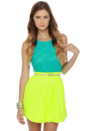 Cute Neon Yellow Skirt Mini Skirt Pleated Skirt 42 00