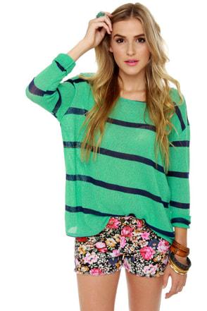 Believe the Hype Striped Mint Green Sweater