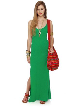 All Night Long Green Maxi Dress