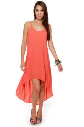 Point Break High-Low Coral Dress
